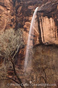 An ephemeral waterfall in Zion Canyon.  In a few hours this waterfall will cease only to return with the next rainstorm, Zion National Park, Utah