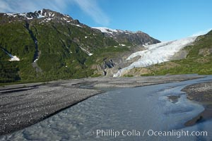 Exit Creek, the meltwaters of Exit Glacier, flow over the gravel plains over which the glacier has receded, Kenai Fjords National Park, Alaska