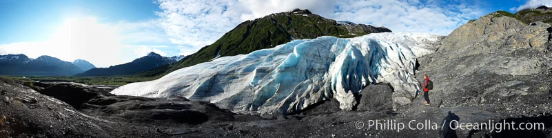 Self portrait, panorama of Exit Glacier.  Exit Glacier, one of 35 glaciers that are spawned by the enormous Harding Icefield, is the only one that can be easily reached on foot, Kenai Fjords National Park, Alaska