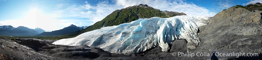 Panorama of Exit Glacier, the terminus of the glacier.  Exit Glacier, one of 35 glaciers that are spawned by the enormous Harding Icefield, is the only one that can be easily reached on foot, Kenai Fjords National Park, Alaska