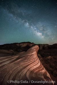 Milky Way galaxy rises above the Fire Wave, Valley of Fire State Park. Valley of Fire State Park, Nevada, USA, natural history stock photograph, photo id 28554