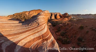 The Fire Wave, a uniquely striped sandstone formation in Valley of Fire State Park. Valley of Fire State Park, Nevada, USA, natural history stock photograph, photo id 26655