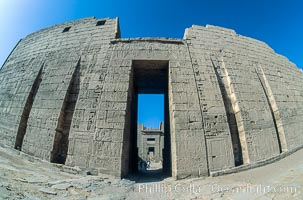 First pylon, Medinet Habu. Luxor, Egypt, natural history stock photograph, photo id 02581