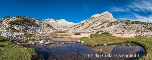 First View of Conness Lakes Basin with Mount Conness (12589' center) and North Peak (12242', right), Hoover Wilderness. Conness Lakes Basin, Hoover Wilderness, California, USA, natural history stock photograph, photo id 31057