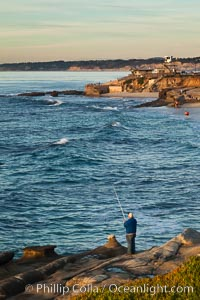 Fisherman along the La Jolla coastline