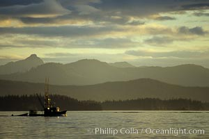 Fishing boat at sunset near the fishing town of Kake. Frederick Sound, Alaska, USA, natural history stock photograph, photo id 04583