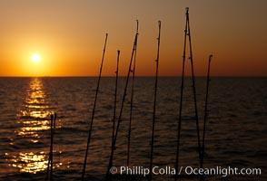Fishing rods, sunrise, Santa Barbara Island