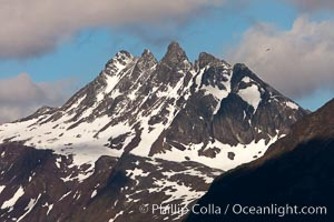 The Five Brothers (Mount Cinco Hermanos, 1280m) in the Fuegian Andes, a cluster of peaks above Ushuaia, the capital of the Tierra del Fuego region of Argentina, Beagle Channel