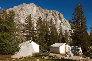 Fletcher Peak (11407') rises above Vogelsang High Sierra Camp, in Yosemite's high country, Yosemite National Park, California
