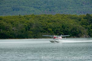 Floatplane landing on Brooks Lake, Katmai National Park, Alaska