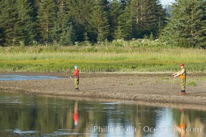 Fly fishing on Silver Salmon Creek. Silver Salmon Creek, Lake Clark National Park, Alaska, USA, natural history stock photograph, photo id 19079