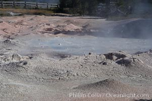 Fountain Paint Pot, a mud pot, boils and bubbles continuously.  It is composed of clay and fine silica.  Lower Geyser Basin, Yellowstone National Park, Wyoming