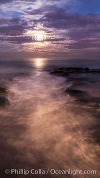Breaking waves crash upon a rocky reef under the light of a full moon. La Jolla, California, USA, natural history stock photograph, photo id 28868