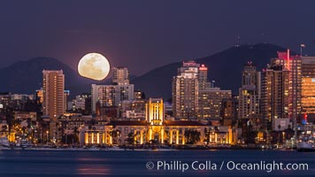 Full Moon rising over San Diego City Skyline, viewed from Harbor Island. San Diego, California, USA, natural history stock photograph, photo id 29121