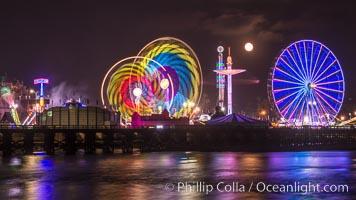 Full moon rising at night over the San Diego County Fair.  Del Mar Fair at night. Del Mar, California, USA, natural history stock photograph, photo id 31030