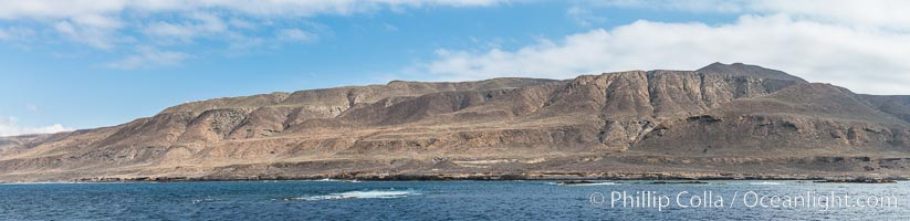 Geologic Terraces, San Clemente Island.  Multiple terraces on the island are seen, formed as the ocean level changes over eons. Panoramic photo