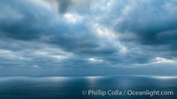 Clouds and afternoon light over the Pacific Ocean, Del Mar, California