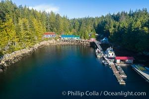 Gods Pocket Resort, on Hurst Island, part of Gods Pocket Provincial Park, aerial photo