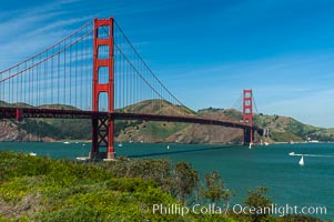 Golden Gate Bridge, viewed from San Francisco, with the Marin Headlands visible in the distance