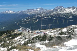 Gondola station viewed from the summit of Whistler Mountain, with Blackcomb Mountain in the distance on the right
