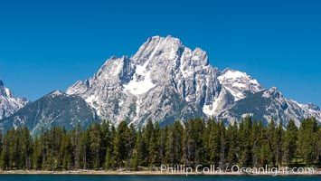 Mount Moran in the Teton Range rises above Jackson Lake, summer, Grand Teton National Park, Wyoming