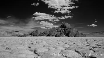 The Grandstand, standing above dried mud flats, on the Racetrack Playa in Death Valley. Racetrack Playa, Death Valley National Park, California, USA, natural history stock photograph, photo id 25317