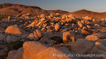 Ancient granite boulders at Joshua Tree National park, at sunset, Joshua Tree National Park, California