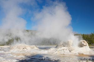 Grotto Geyser erupts (right) while Rocket Geyser steams (left).  Upper Geyser Basin, Yellowstone National Park, Wyoming