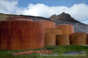 Grytviken whale station, abandoned storage tanks. Grytviken, South Georgia Island, natural history stock photograph, photo id 24464