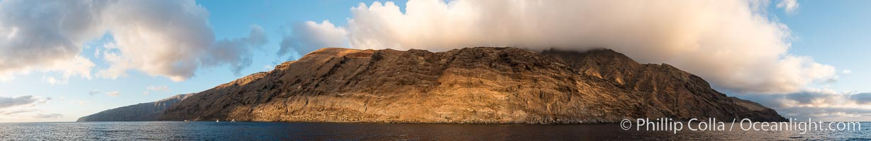 Guadalupe Island at sunrise, panorama. Volcanic coastline south of Pilot Rock and Spanish Cove, near El Faro lighthouse. Guadalupe Island (Isla Guadalupe), Baja California, Mexico, natural history stock photograph, photo id 28758