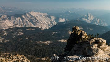 Half Dome and Cloud's Rest from Summit of Mount Hoffmann, sunset, panorama. Mount Hoffmann, Yosemite National Park, California, USA, natural history stock photograph, photo id 31191