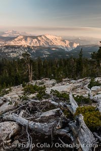 Half Dome and Cloud's Rest from Summit of Mount Hoffmann, sunset. Mount Hoffmann, Yosemite National Park, California, USA, natural history stock photograph, photo id 31203