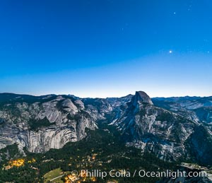 Half Dome and nighttime stars, viewed from Glacier Point, Yosemite National Park, California