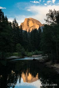 Half Dome reflected in the Merced River. Half Dome, Yosemite National Park, California, USA, natural history stock photograph, photo id 28692