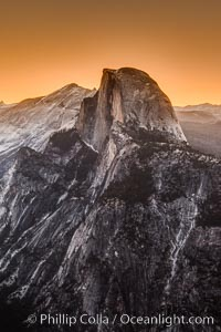 Half Dome and pre-dawn light, sunrise, viewed from Glacier Point, Yosemite National Park, California