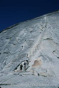 Cables guiding hikers to summit of Half Dome, Yosemite National Park, California