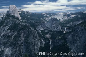 View from Glacier Point toward Little Yosemite Valley. The Merced River flows through Nevada Falls (right) and Vernal Falls (bottom), Yosemite National Park, California