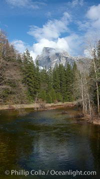 Half Dome and clouds, spring, viewed from Sentinel Bridge. Half Dome, Yosemite National Park, California, USA, natural history stock photograph, photo id 22763