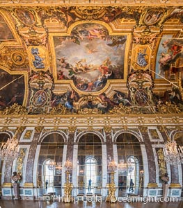 The Hall of Mirrors, or Galerie des Glaces, is the central gallery of the Palace of Versailles and is renowned as being one of the most famous rooms in the world, Chateau de Versailles, Paris, France