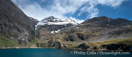 Hercules Bay, with the steep mountains and narrow waterfalls of South Georgia Island rising above. Hercules Bay, South Georgia Island, natural history stock photograph, photo id 24417