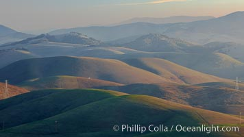 Hills between Morro Bay and Atascadero, early morning light, power transmission lines and signal attenae