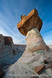 Pedestal rock, or hoodoo, at Stud Horse Point.  These hoodoos form when erosion occurs around but not underneath a more resistant caprock that sits atop of the hoodoo spire, Page, Arizona