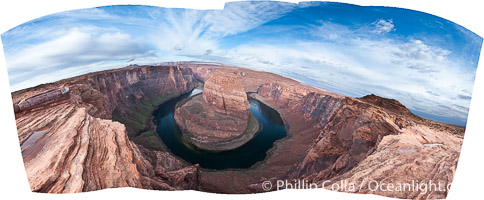 Horseshoe Bend. The Colorado River makes a 180-degree turn at Horseshoe Bend. Here the river has eroded the Navajo sandstone for eons, digging a canyon 1100-feet deep. Horseshoe Bend, Page, Arizona, USA, natural history stock photograph, photo id 26618