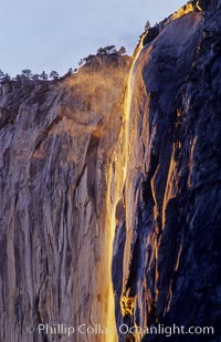Horsetail Falls backlit by the setting sun as it cascades down the face of El Capitan, February, Yosemite Valley, Yosemite National Park, California