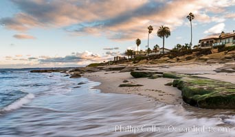 Hospital Point, La Jolla, dawn, sunrise light and approaching storm clouds
