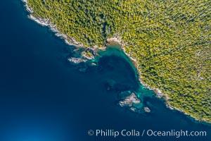 Hurst Island coastline aerial photo, God's Pocket Provincial Park, Vancouver Island, British Columbia, Canada