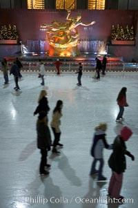 Ice skating at Rockefeller Center, winter, Manhattan, New York City