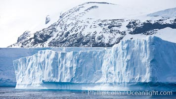 Iceberg and snow-covered coastline, Antarctic Sound. Antarctic Sound, Antarctic Peninsula, Antarctica, natural history stock photograph, photo id 24877