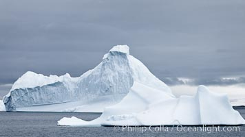 Icebergs in Paradise Bay, sculpted by water and time, Antarctica