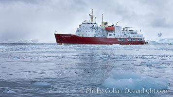 Icebreaker M/V Polar Star, anchored amid pack ice in Cierva Cove
